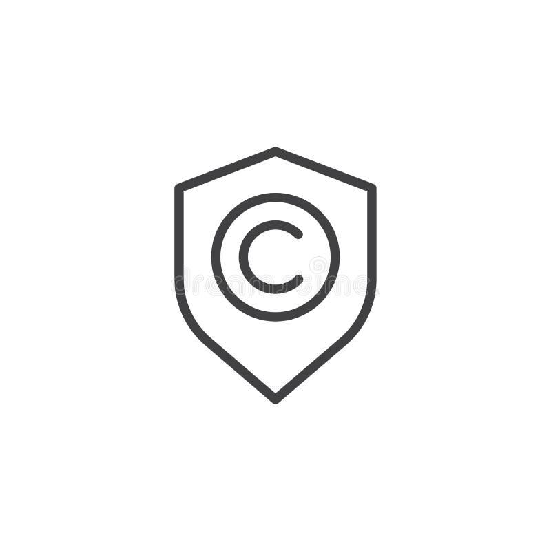 Protetor com linha ícone do sinal dos direitos reservados ilustração royalty free