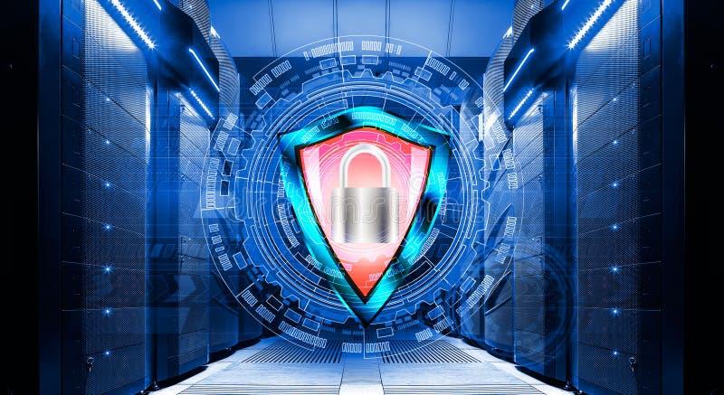 Protetor com o cadeado no fundo de fundos abstratos no centro de dados entre os super-computadores das fileiras imagem de stock