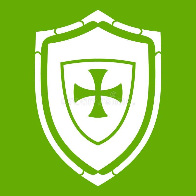 Protetor com verde transversal do ícone ilustração stock