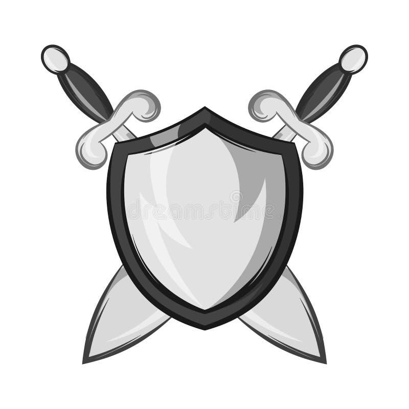 Protetor da batalha com ícone das espadas ilustração royalty free