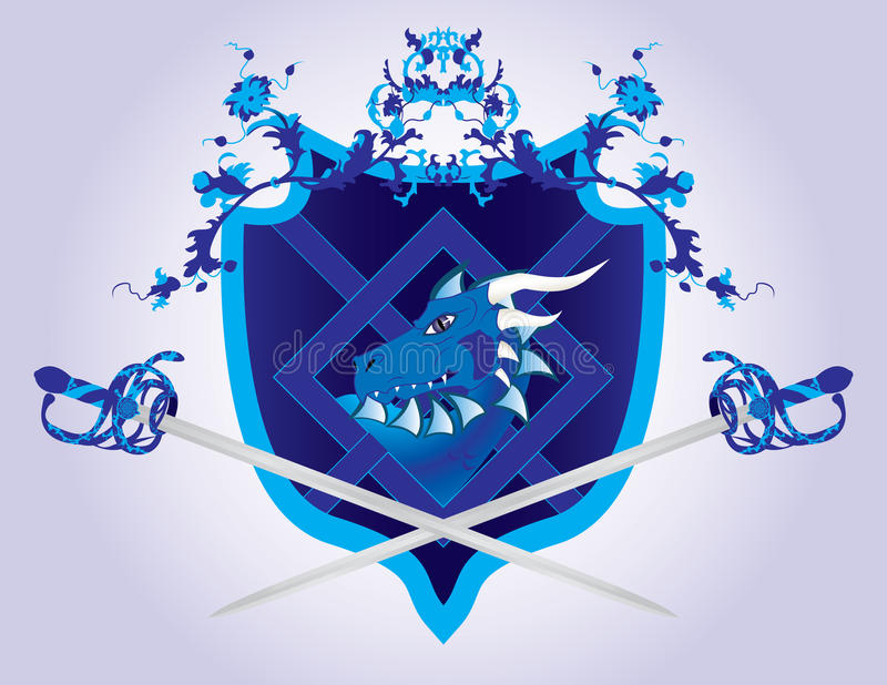 Protetor da fantasia com um dragão e as espadas ilustração royalty free