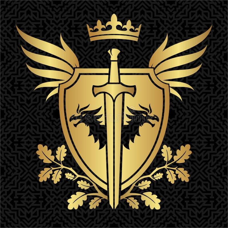 Protetor da heráldica com dragões, asas e espada no teste padrão ilustração stock