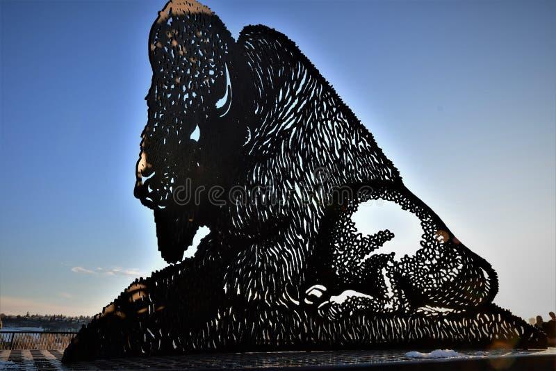 Protetor da posição do búfalo do metal contra o céu fotos de stock
