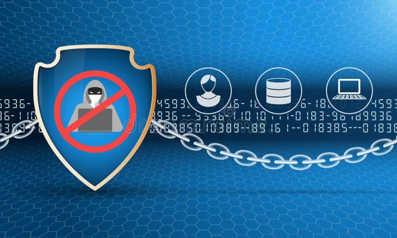 Protetor da proteção de dados com corrente ilustração royalty free