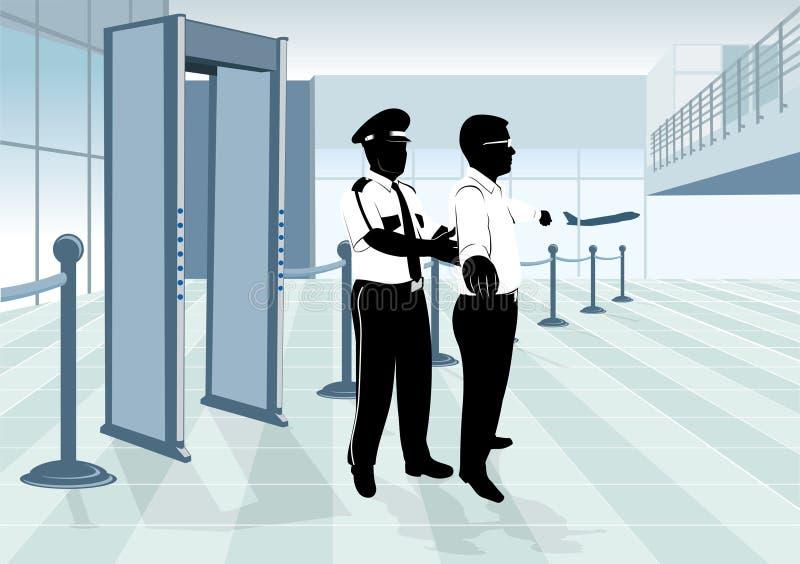 Protetor da segurança aeroportuária ilustração do vetor
