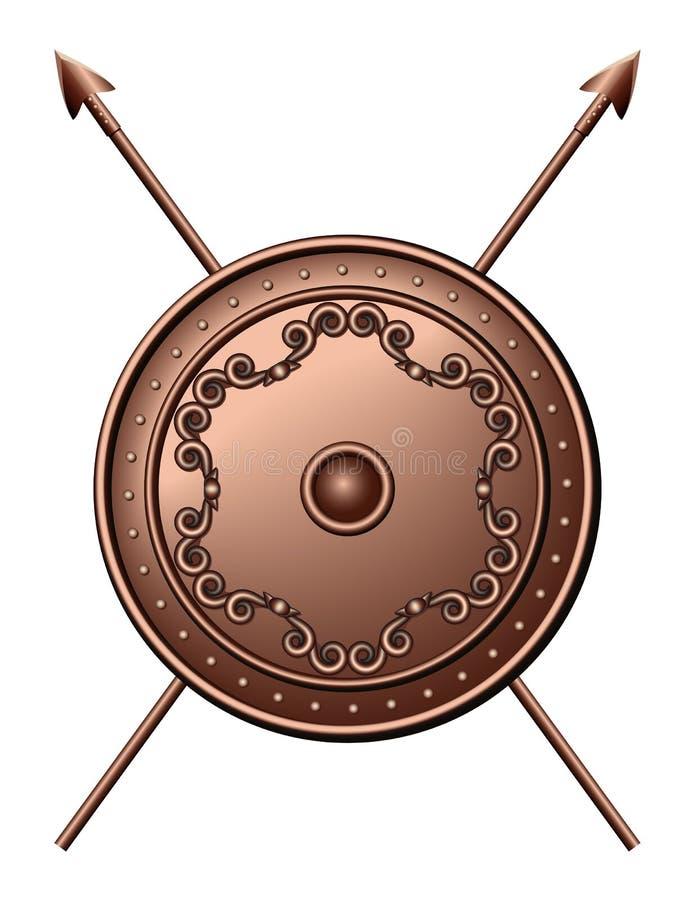 Protetor de bronze e lanças cruzadas. ilustração stock