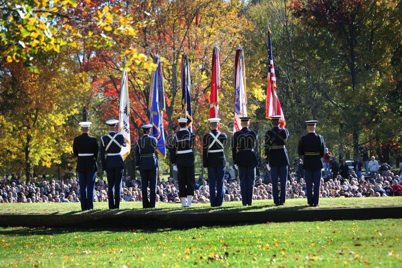 Protetor de cor - cerimónia do dia dos veteranos em Vietnam Mem imagem de stock