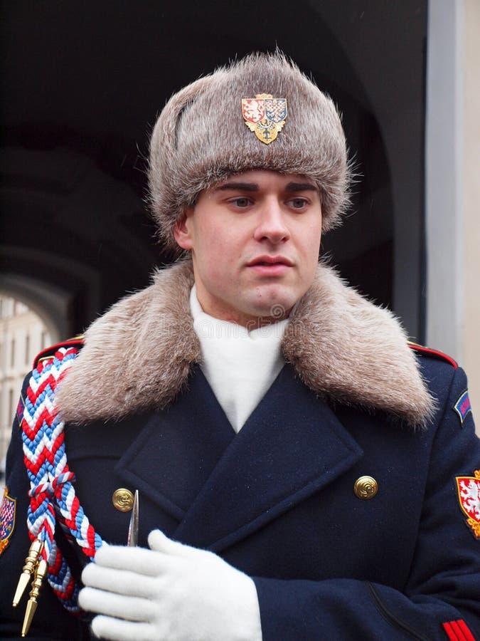 Protetor de honra checo no inverno fotos de stock