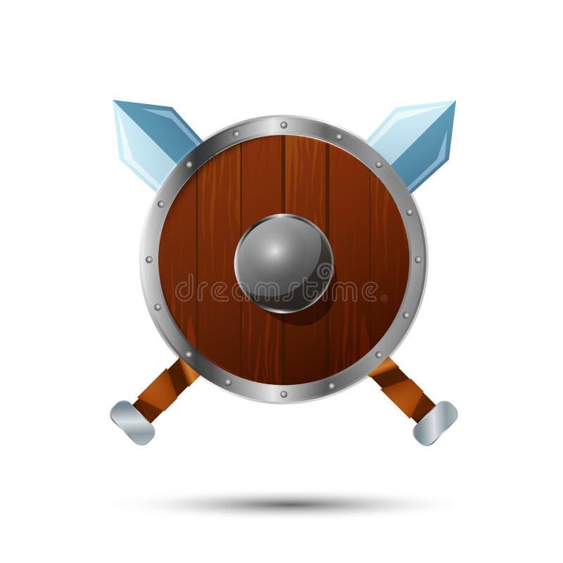 Protetor de madeira redondo com espadas cruzadas ilustração royalty free