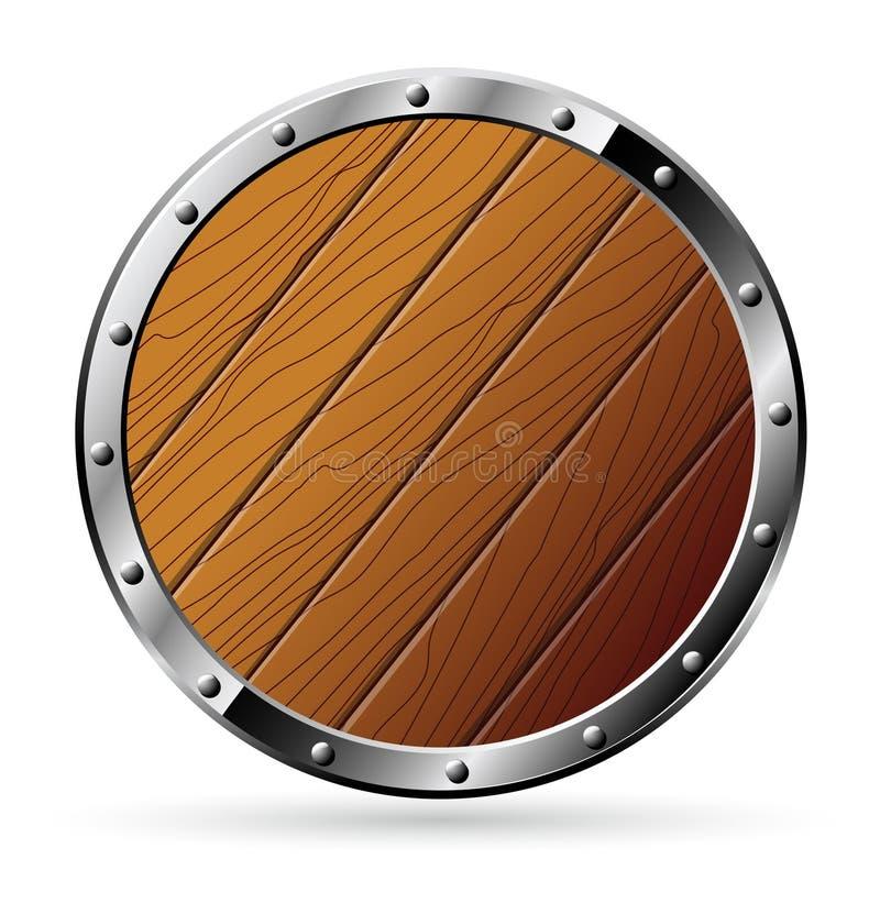 Protetor de madeira redondo - isolado sobre ilustração royalty free