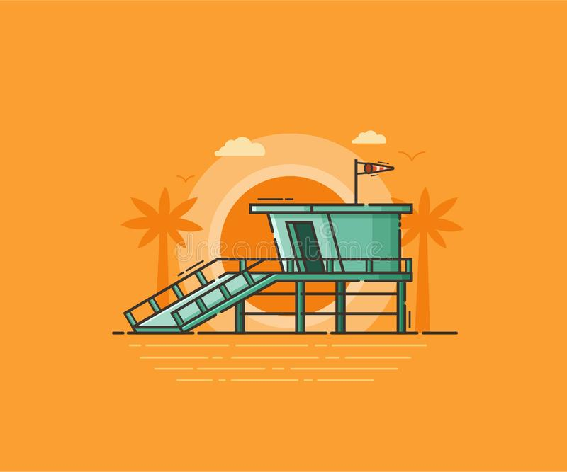 Protetor de vida House Vetora Illustration da praia ilustração stock