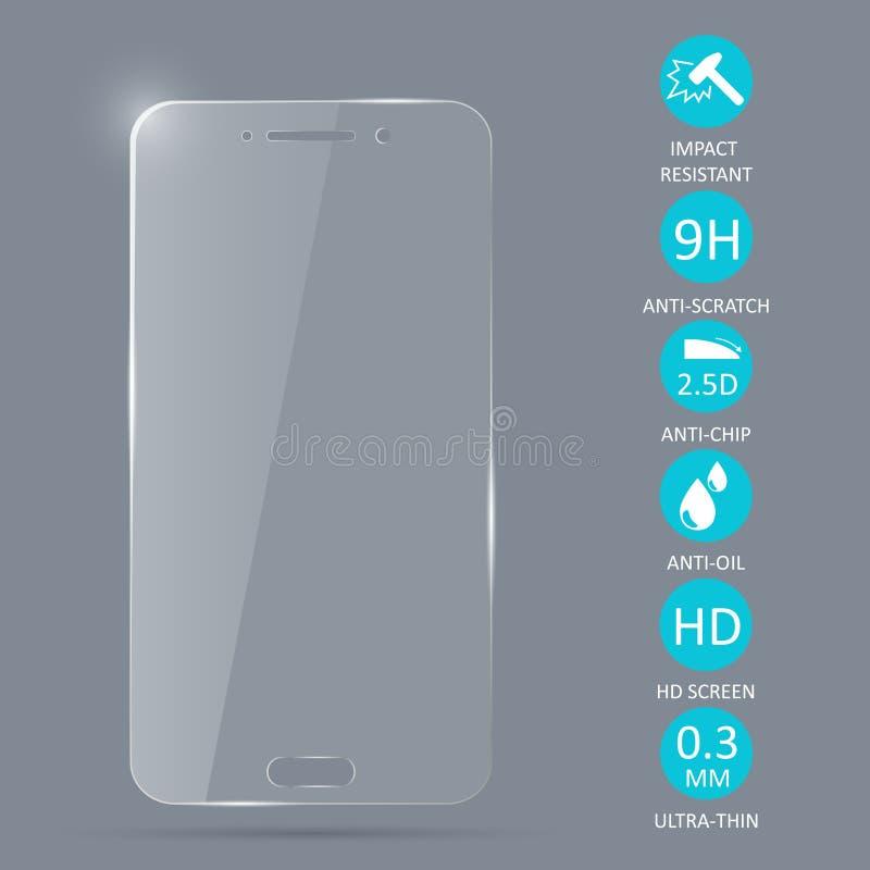Protetor de vidro da tela para o smartphone ilustração royalty free