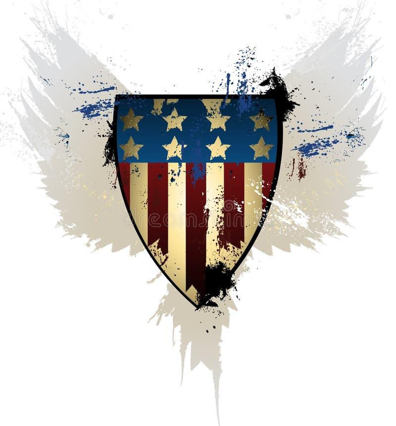 Protetor do americano do Grunge ilustração royalty free