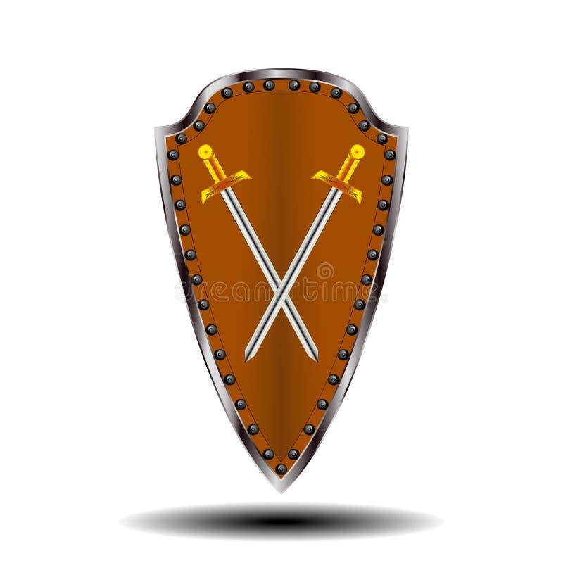 Protetor do logotipo e espada da cor luz-marrom imagens de stock royalty free