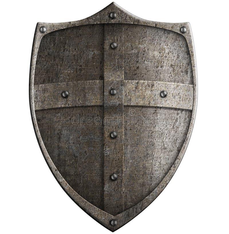 Protetor do metal do cruzado medieval isolado com trajeto de grampeamento fotos de stock royalty free