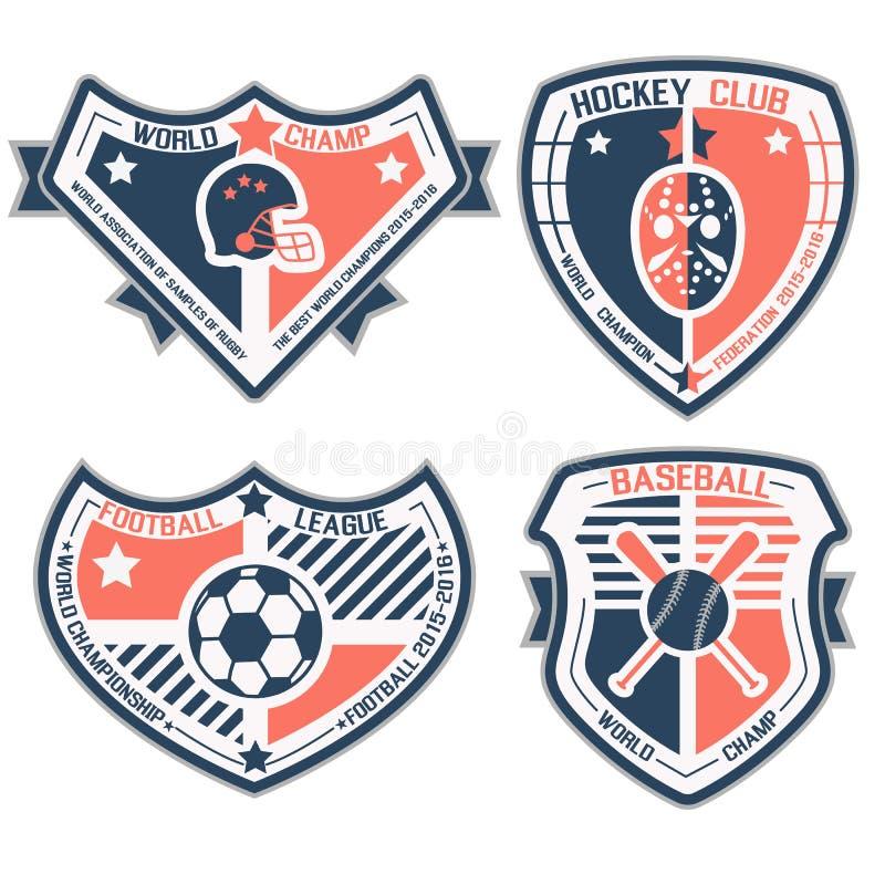 Protetor e emblemas do esporte ilustração royalty free