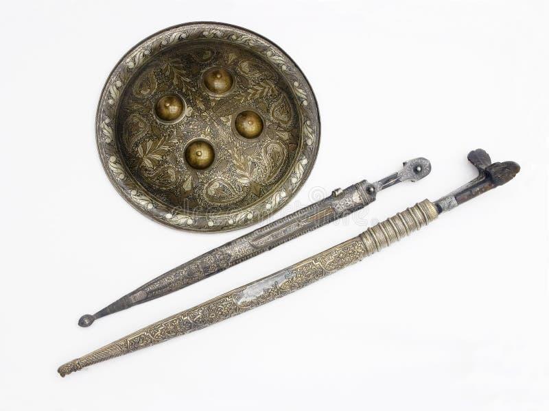 Protetor e espadas imagem de stock royalty free
