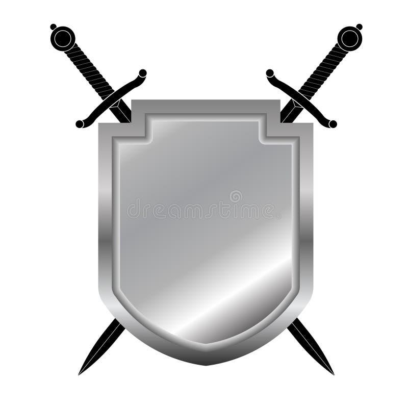 Protetor e espadas ilustração do vetor