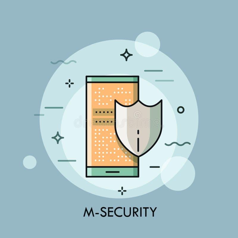 Protetor e smartphone com tela do fechamento, conceito móvel da segurança ilustração do vetor