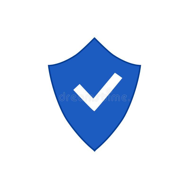 Protetor e verificação Mark Icon Logo Template ilustração stock