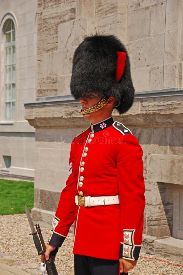 Protetor ereto no uniforme vermelho no monte do parlamento, Ottawa, Canadá fotos de stock