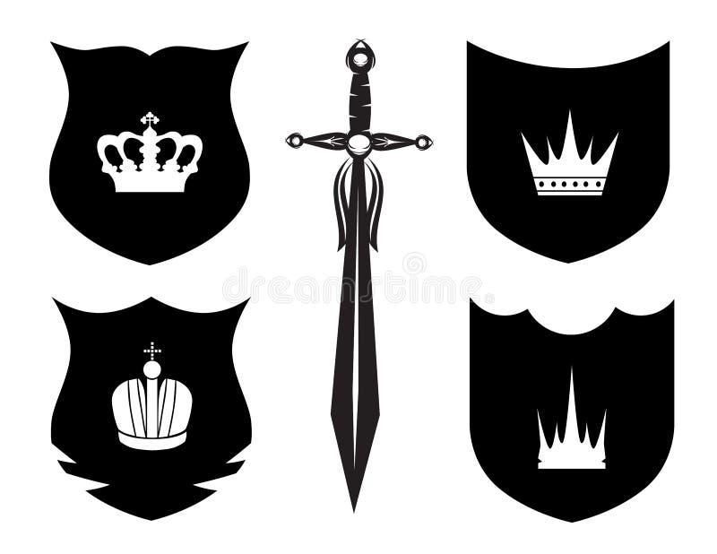 Protetor, espada e coroa ilustração royalty free