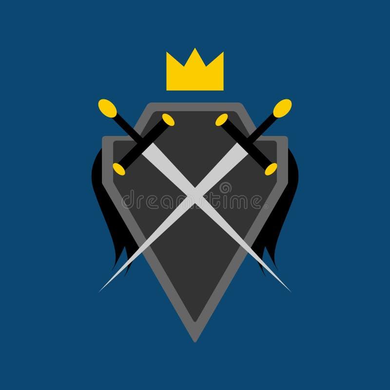 Protetor, espadas cruzadas e coroa Símbolo, logotipo, emblema Ilustra??o do vetor ilustração royalty free