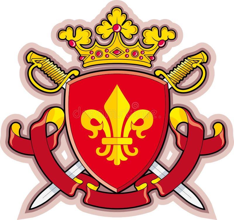 Protetor, fitas, coroa, flor de lis da heráldica ilustração royalty free