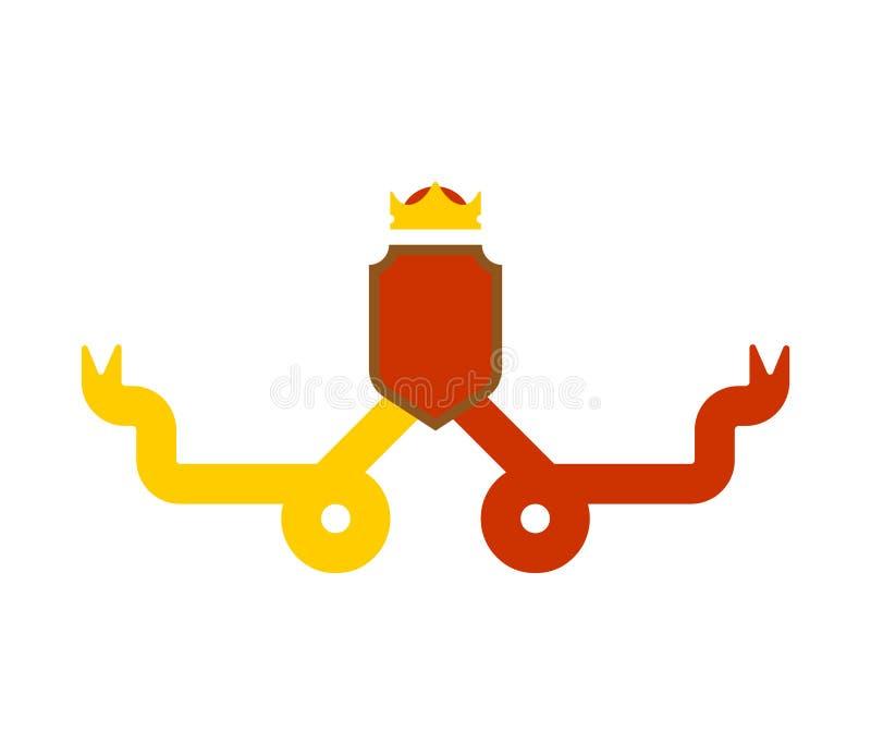 Protetor heráldico da coroa Elemento do projeto da heráldica do molde Revestimento de ilustração do vetor