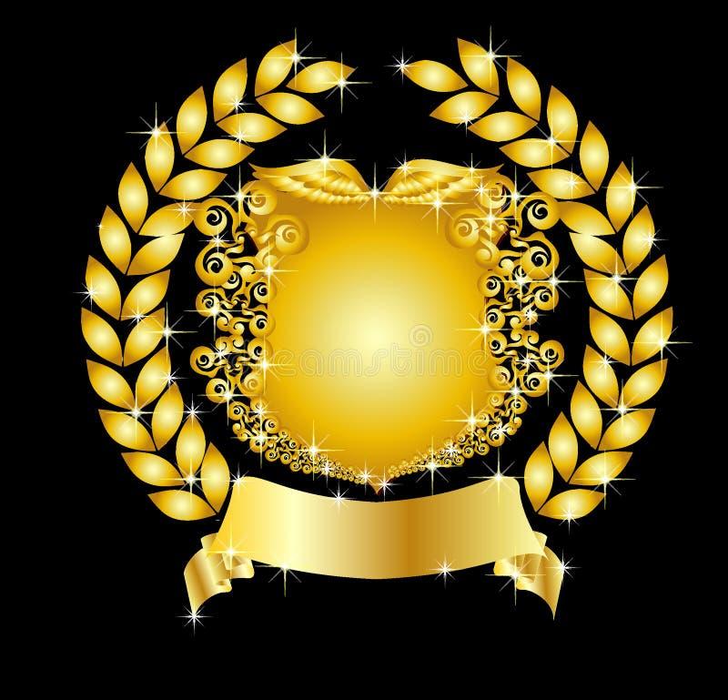 Protetor heráldico dourado com grinalda do louro ilustração do vetor