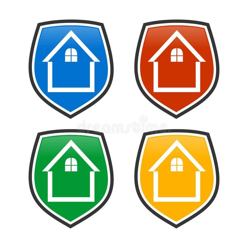 Protetor home Shield Logo Template ilustração stock