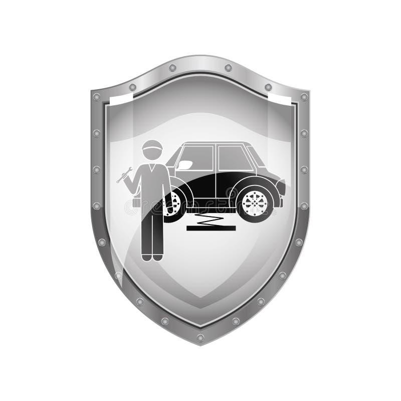 Protetor metálico do mecânico com chave inglesa e carro ilustração do vetor