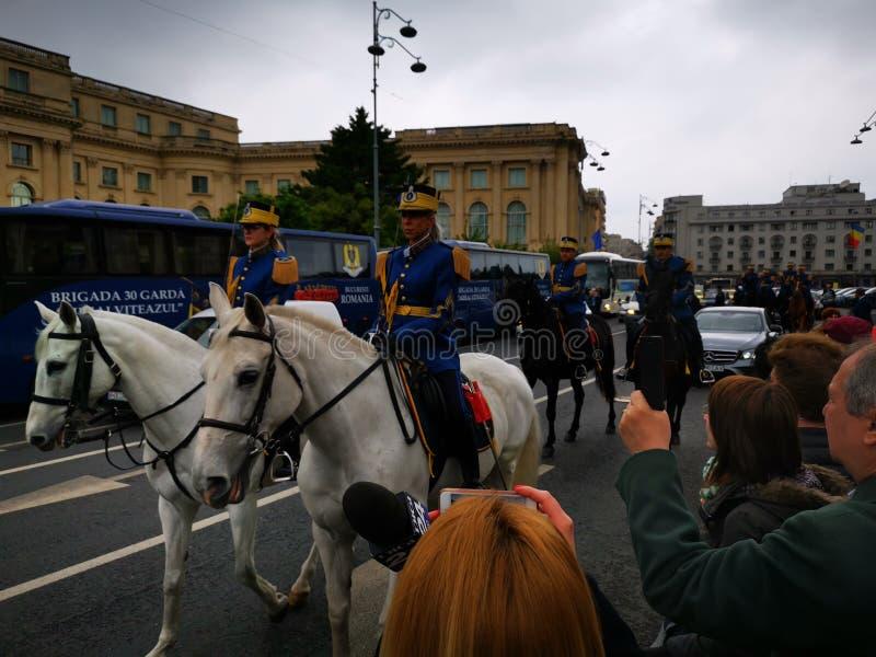 Protetor militar Regiment Mihai Viteazul do protetor a cavalo - 30o fotos de stock royalty free