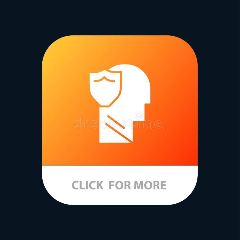 Protetor, seguro, masculino, usuário, botão móvel do App dos dados Android e do Glyph do IOS versão ilustração stock