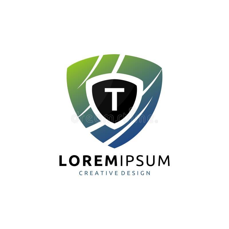Protetor T Letter Logo do protetor ilustração stock