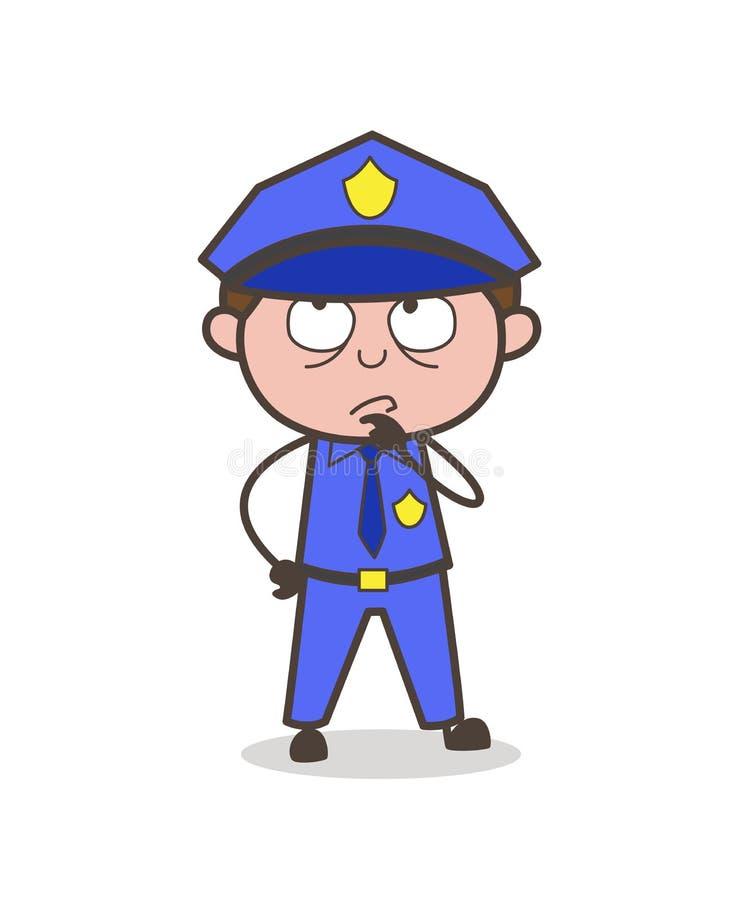 Protetor Thinking Face Vetora dos desenhos animados ilustração do vetor