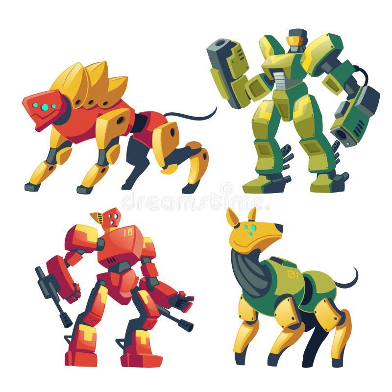 Protetores do robô dos desenhos animados do vetor, androides futuristas da batalha ilustração royalty free