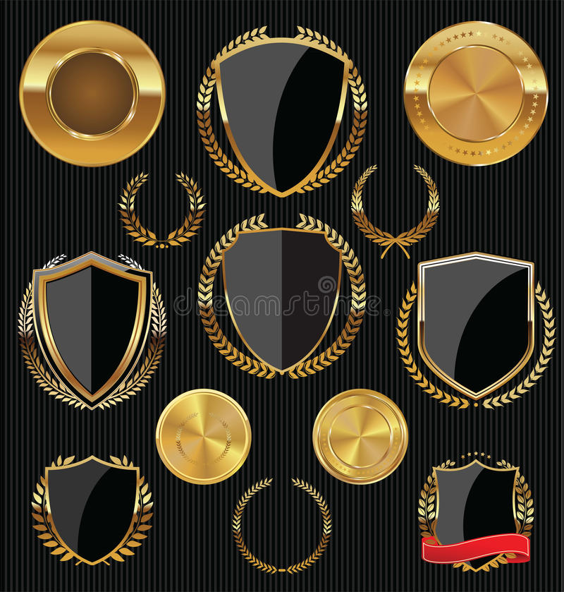 Protetores dourados, etiquetas e louros, ouro e coleção preta ilustração stock