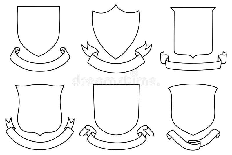 Protetores e bandeiras ajustados ilustração do vetor