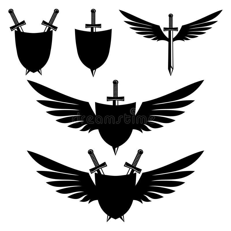 Protetores e espadas ilustração do vetor