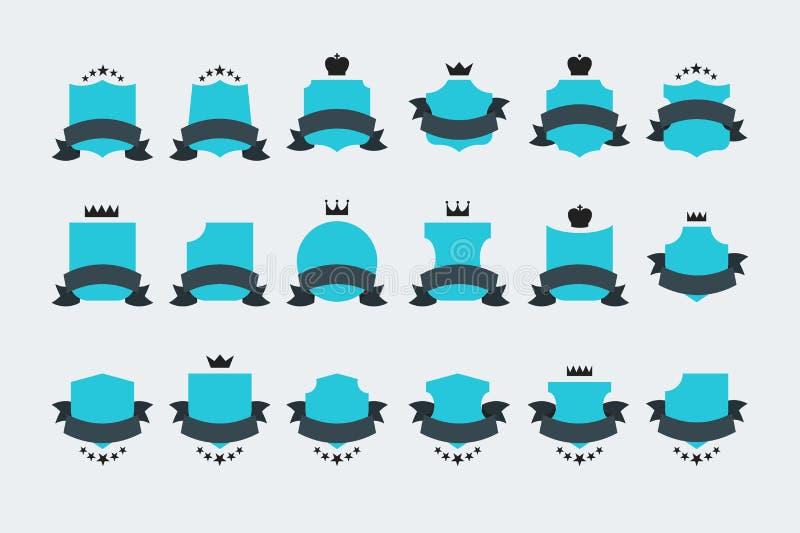 Protetores heráldicos do vetor liso do vintage com fitas ilustração royalty free