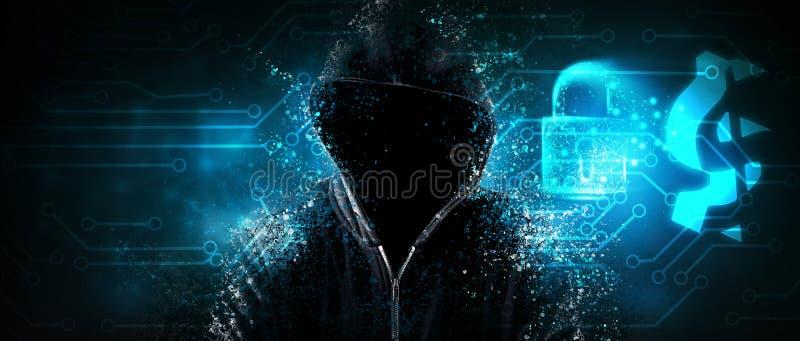 Protezione affidabile del conto degli attacchi informatici fotografia stock libera da diritti