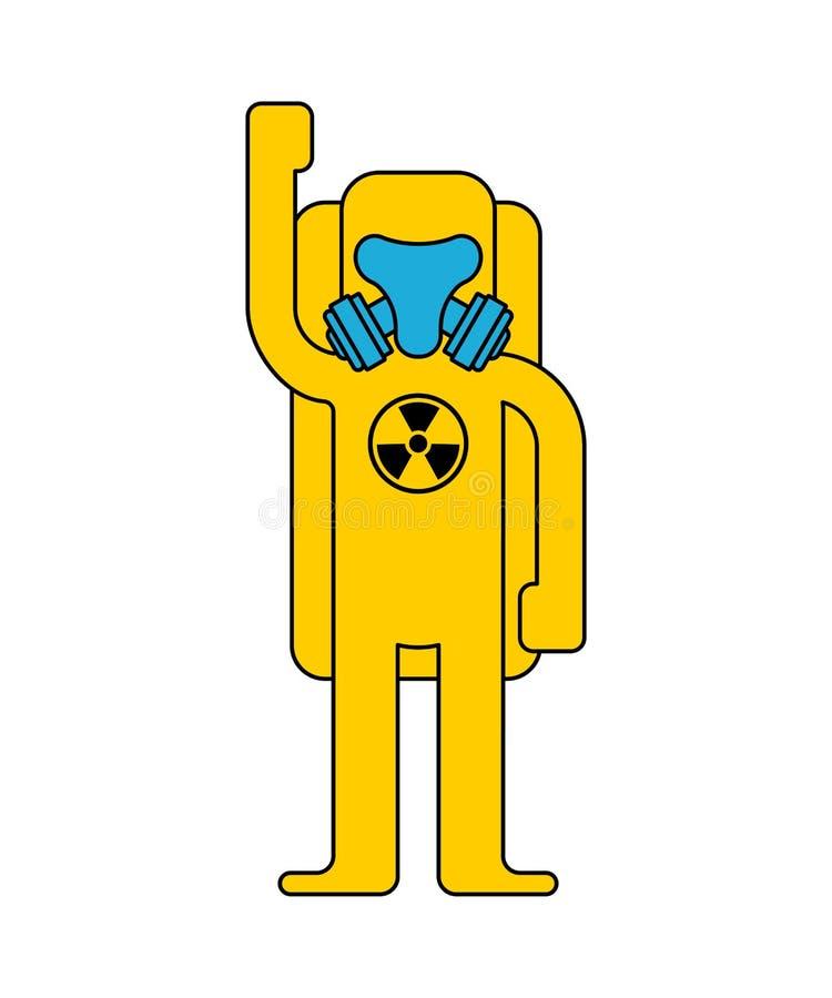 Protezione chimica di rischio biologico del vestito giallo Costume a radioattiva illustrazione vettoriale