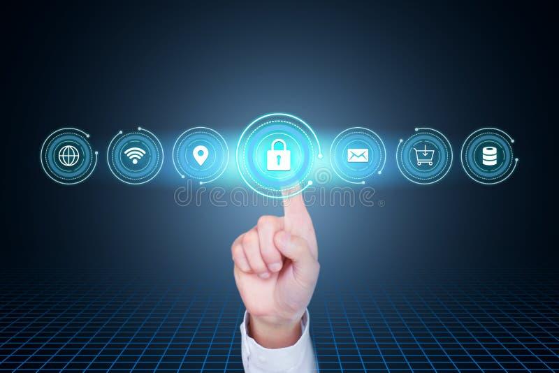 Protezione dei dati, sicurezza della rete, segretezza, mappa creativa di concetto di tecnologia di Internet immagini stock libere da diritti