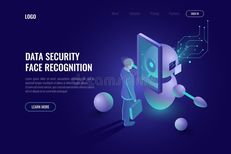 Protezione dei dati, sistema di riconoscimento di fronte, ricerche umane, tecnologia di robotica, industria 4 del robot 0, neon d illustrazione vettoriale