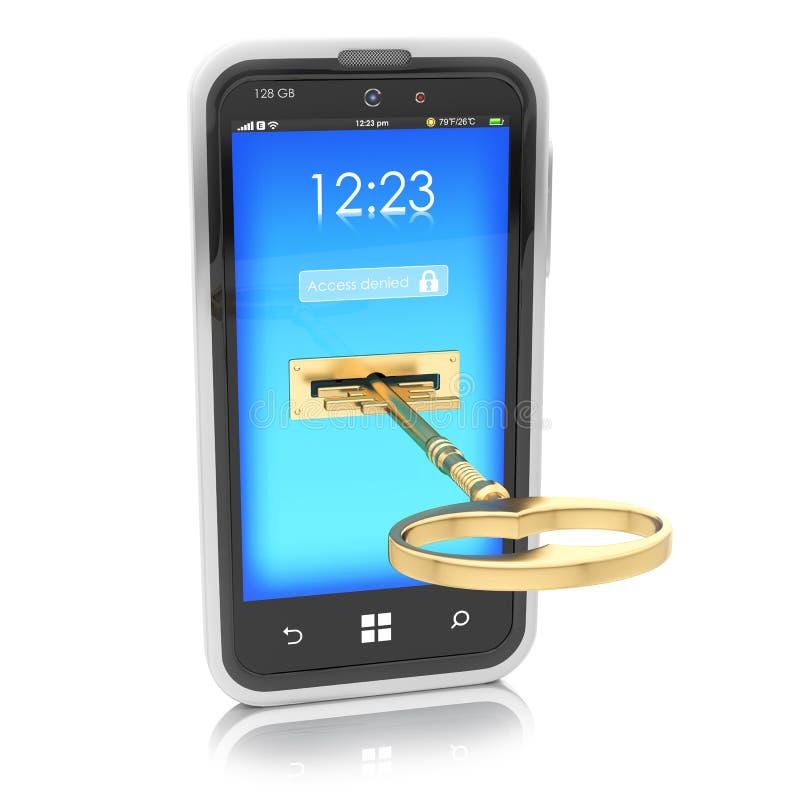 Protezione del concetto dei dispositivi mobili illustrazione di stock