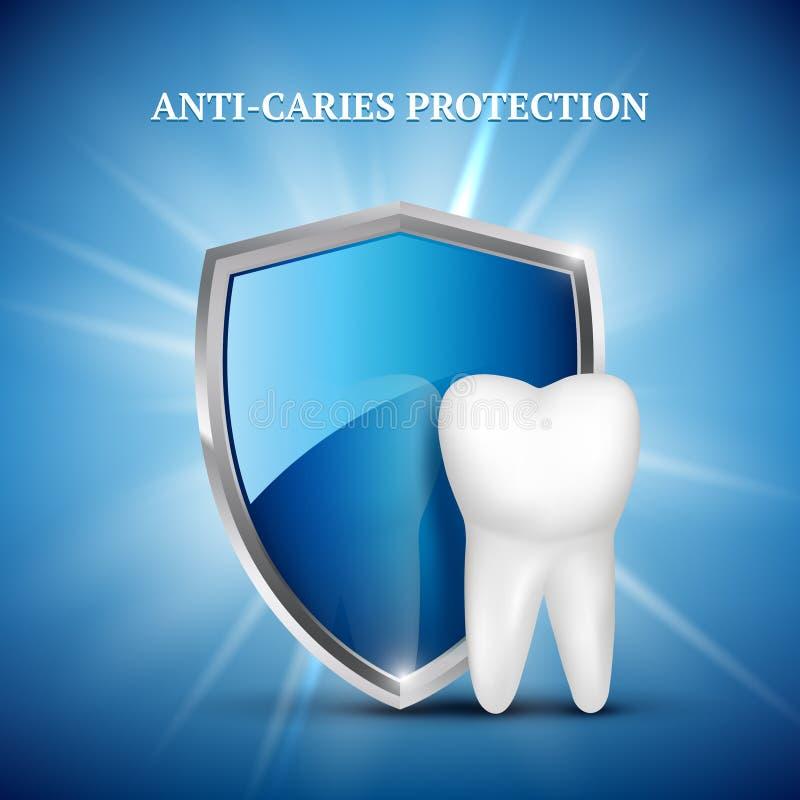 Protezione del dente Concetto dentario delle illustrazioni mediche di concetto di vettore sano di custodia del dente di stomatolo illustrazione di stock
