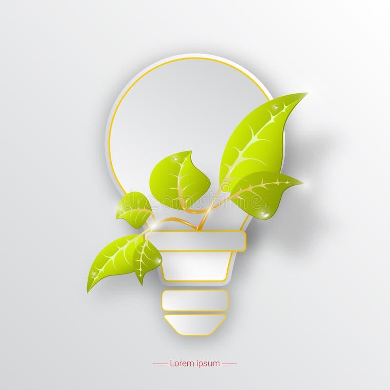Protezione dell'ambiente con la lampadina e la pianta Concetto di ecologia Illustrazione di vettore illustrazione vettoriale