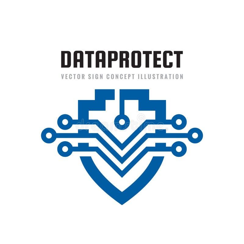 Protezione della data - illustrazione di concetto del modello di logo Simbolo astratto dello schermo con gli elementi elettronici illustrazione di stock