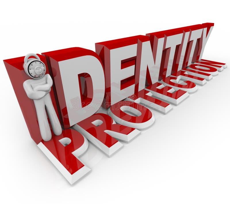 Protezione di identità - uomo della serratura di combinazione royalty illustrazione gratis